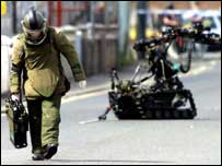 The British Army are responsible for all UK land-based bomb disposal