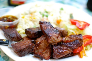 chamorro bbq meat & fried rice plate
